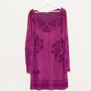 Hale Bob Fuchsia Long Sleeve Sweater Dress L